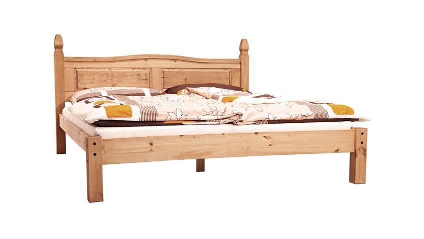 Bett Corona Pinie massiv honigfarben gewachst 180x200 cm