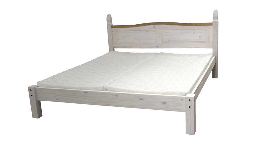 Bett Corona Pinie massiv honigfarben weiß 180x200 cm