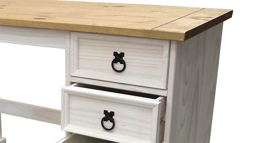 Schreibtisch Corona Pinie massiv honigfarben weiß gewachst