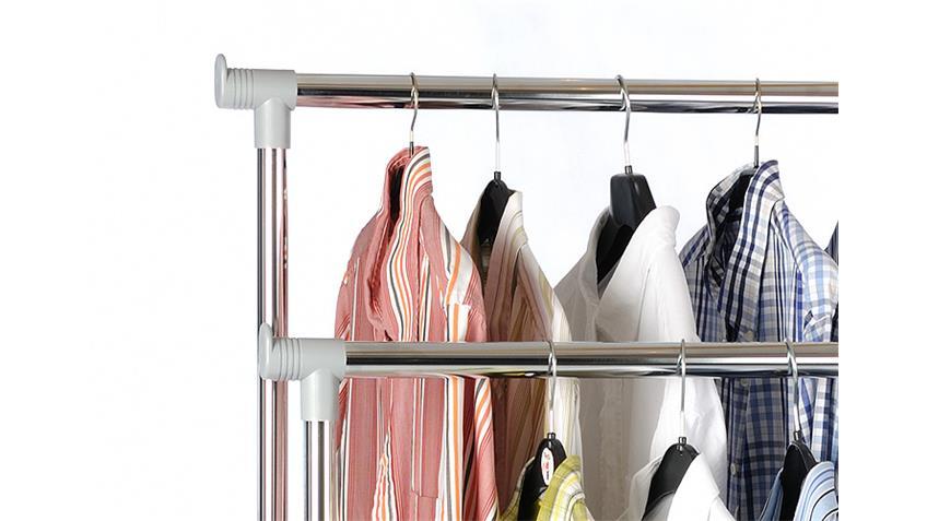 Kleiderwagen PINO Garderobe in silber grau und Metall Chrom