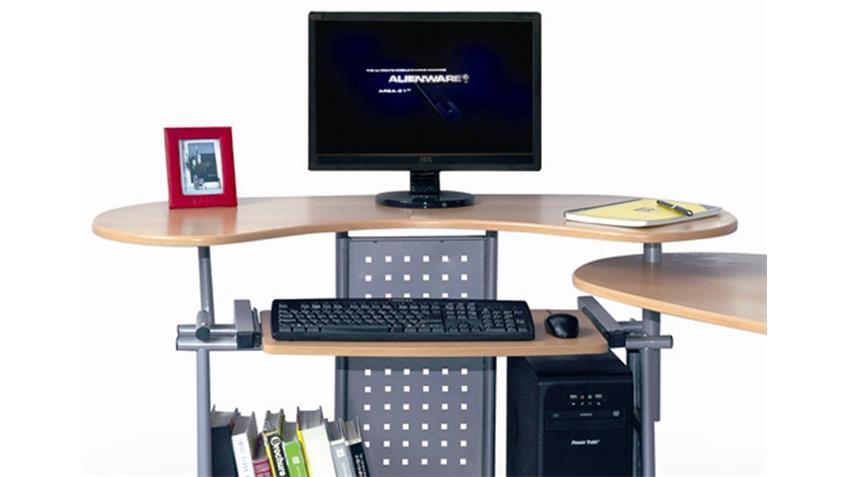 Computertisch TWIN Buche , drehbar auf Rollen