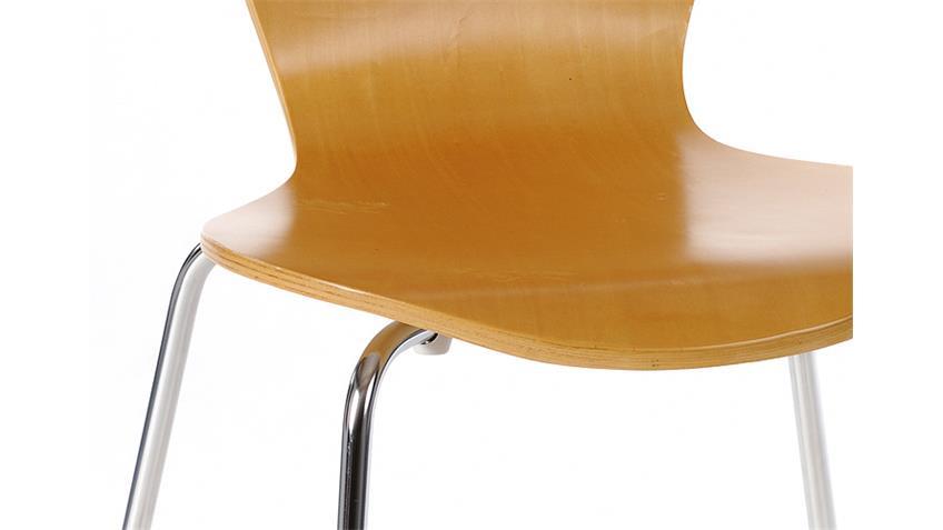 4er Set Stuhl HAPPY Schichtholz natur/ Metall verchromt