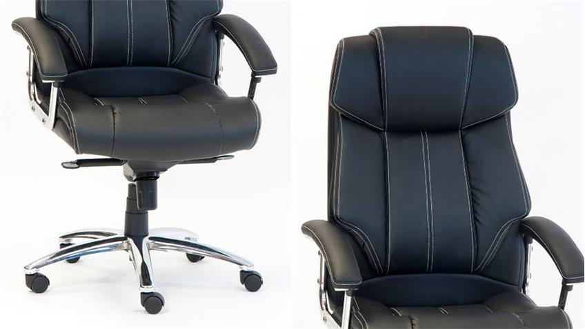 Chefsessel COMFORT XXL Bürostuhl Drehstuhl schwarz und Chrom