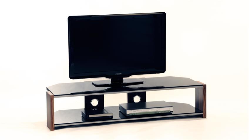 TV-Rack Orlando TV-Board Walnuss Schwarzglas Metallrahmen 140 cm