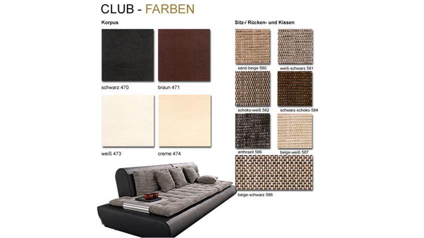 Ecksofa CLUB VII Sofa Wohnlandschaft schwarz mit Webstoff
