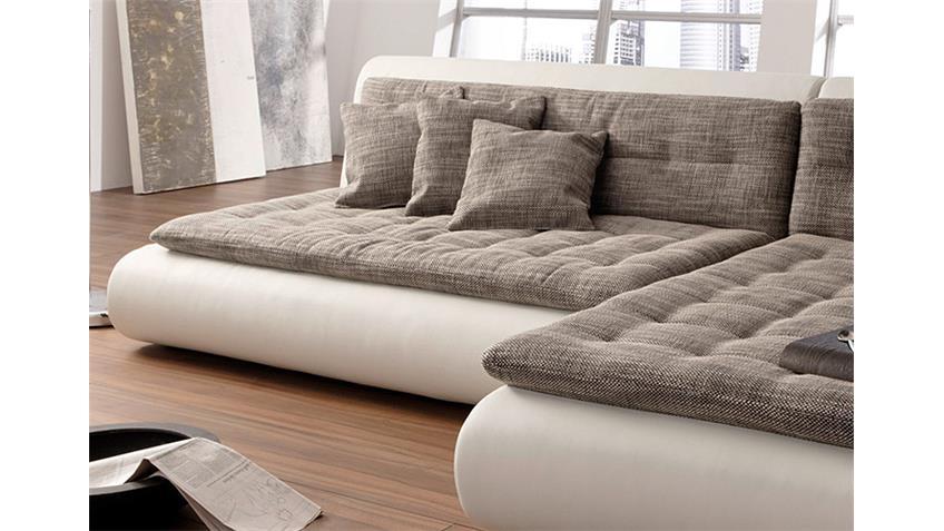 Ecksofa CLUB II Sofa in weiß mit Webstoff Wohnlandschaft