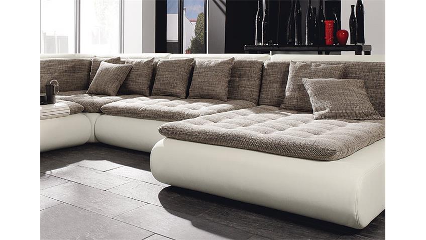 Wohnlandschaft IV CLUB Sofa Polstermöbel weiß mit Webstoff