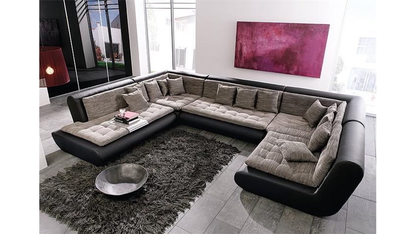 Wohnlandschaft CLUB IX Sofa Polstermöbel schwarz Webstoff