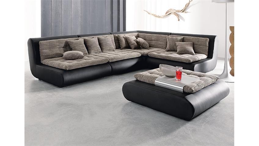 Hocker CLUB II für Mega Sofa schwarz mit robustem Webstoff