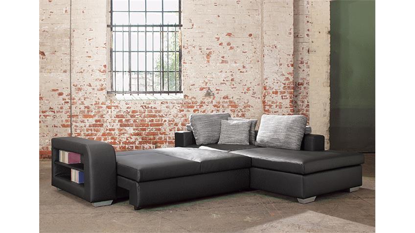 Ecksofa CARLOS Sofa in Lederlook schwarz mit Funktion