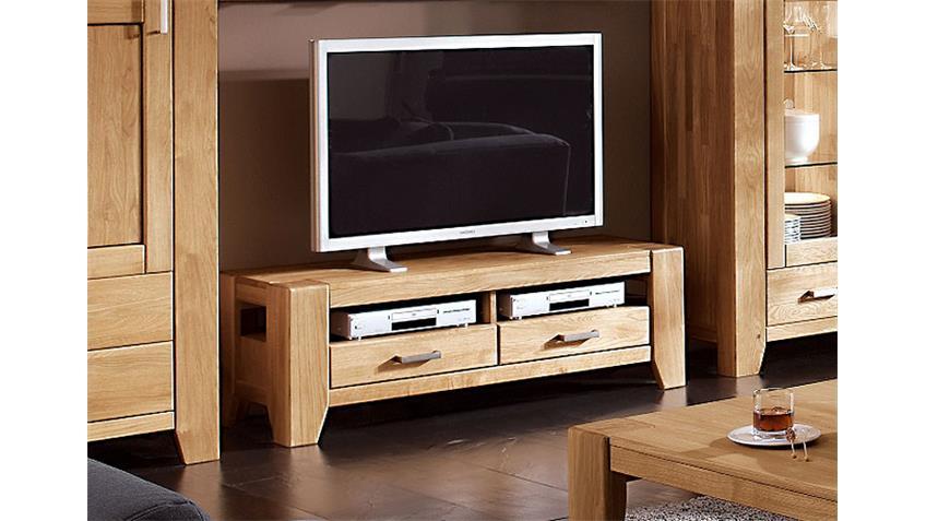 TV-Lowboard 2 LOFT TV Board Wildeiche massiv natur 140 cm