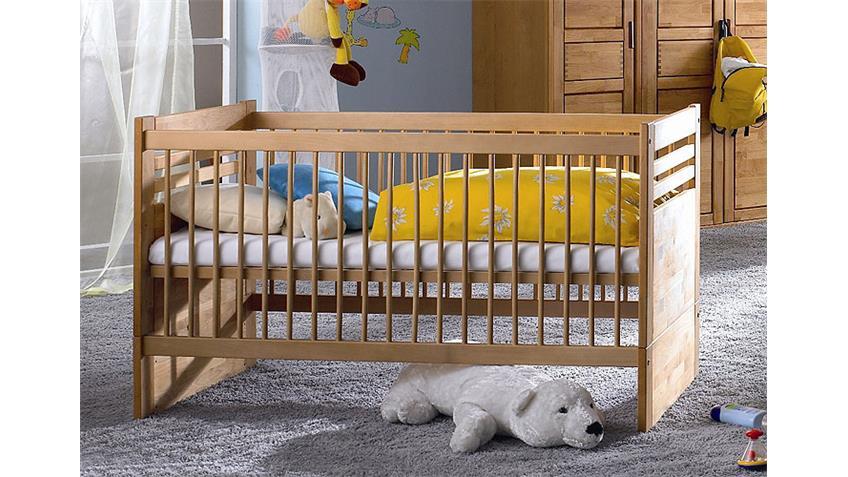 Babyzimmer FYNN Bett Wickelkommode in Erle teilmassiv