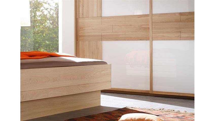 Schlafzimmer Set VIGO Eiche teilmassiv geölt und Glas Weiß