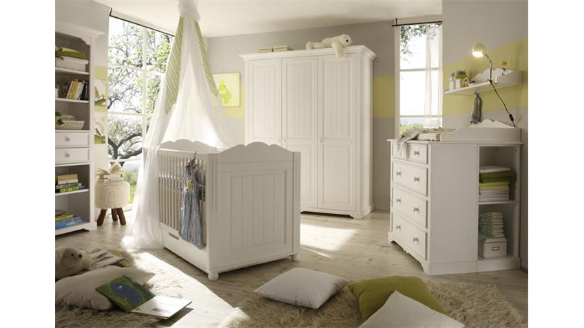 Babyzimmer CINDERELLA PREMIUM Kiefer teilmassiv weiß
