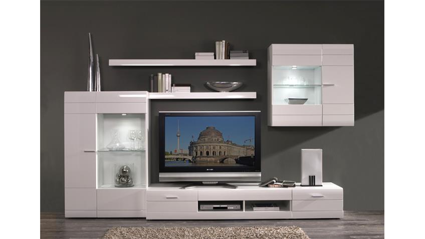 wohnwand carero 1 wohnzimmer anbauwand wei hochglanz. Black Bedroom Furniture Sets. Home Design Ideas
