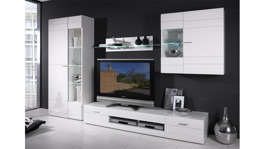 wohnwand carero 3 wohnzimmer anbauwand wei hochglanz. Black Bedroom Furniture Sets. Home Design Ideas