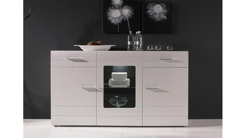 sideboard carero kommode highboard in wei mdf hochglanz. Black Bedroom Furniture Sets. Home Design Ideas