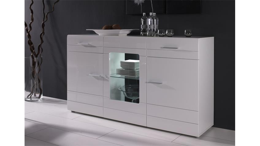Sideboard CARERO Kommode Highboard in weiß MDF hochglanz