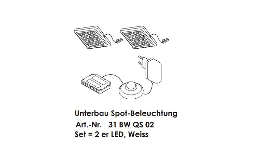 2er-Set Unterbaubeleuchtung LED weiß mit Trafo