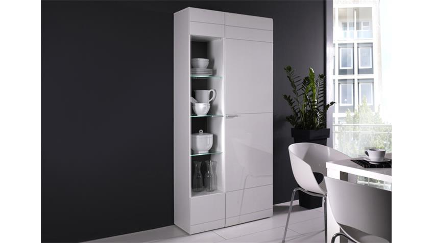 standvitrine rechts carero wohnzimmer vitrine wei hochglanz. Black Bedroom Furniture Sets. Home Design Ideas