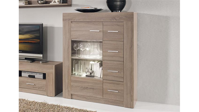 Highboard CASA Sideboard Kommode in Sonoma Eiche dunkel