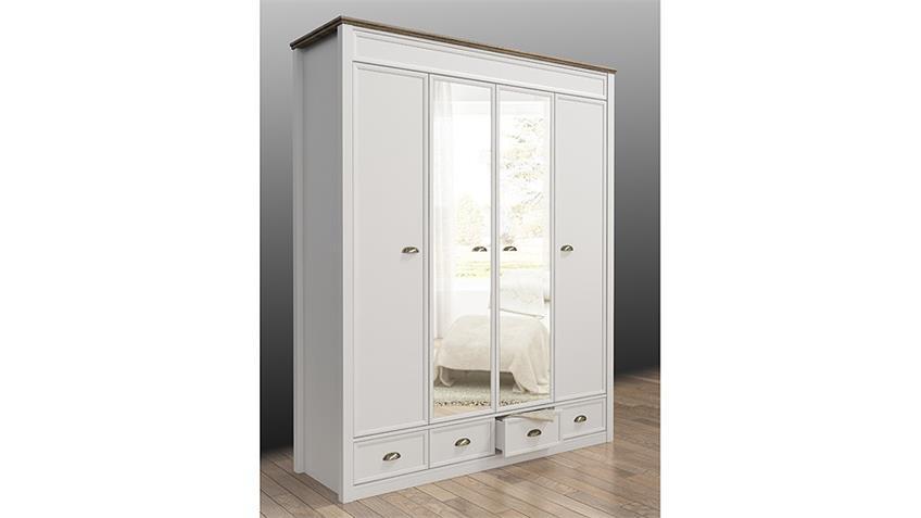Kleiderschrank CHATEAU in weiß und San Remo Eiche 180 cm