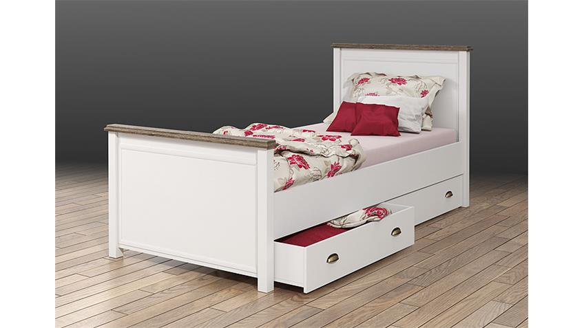 Bett CHATEAU in weiß und San Remo Eiche 90x200