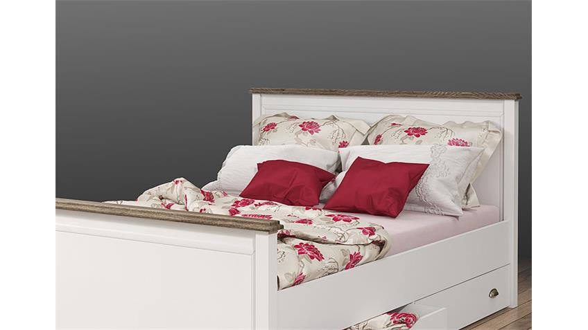 Bett CHATEAU in weiß und San Remo Eiche 140x200