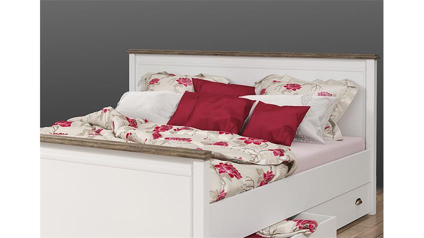 Bett CHATEAU in weiß und San Remo Eiche 180x200