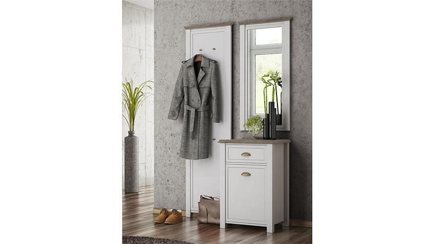 Garderobe 1 CHATEAU in weiß und San Remo Eiche