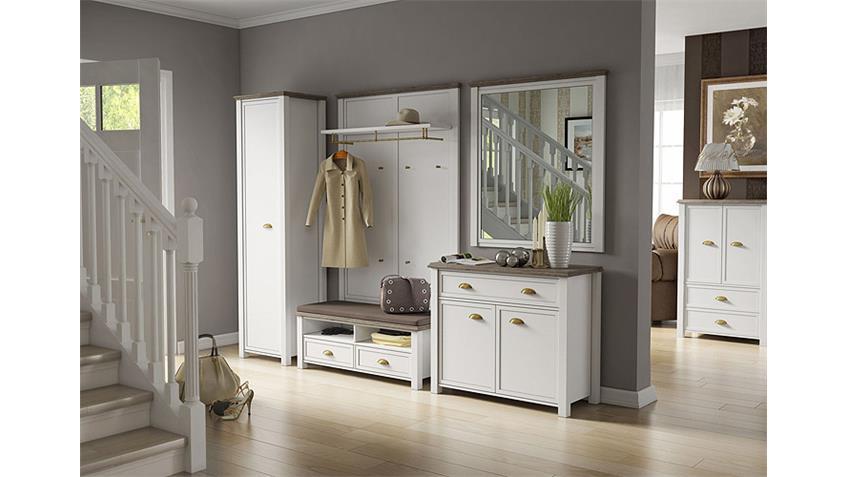 Garderobe 6 CHATEAU in weiß und San Remo Eiche