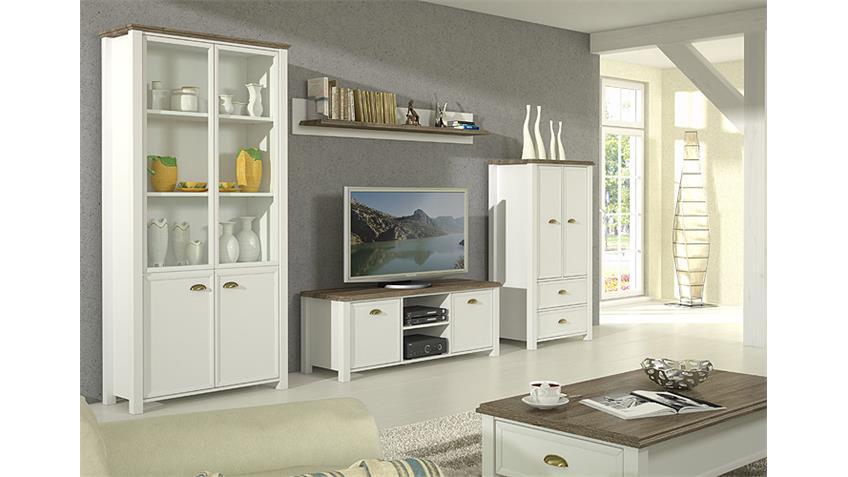 Wohnwand 2 CHATEAU in weiß und San Remo Eiche