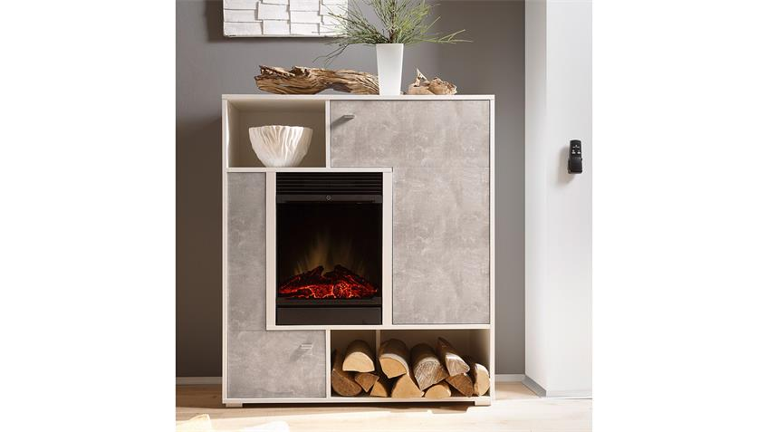 Kaminelement PALERMO Highboard Kamin in beton und weiß