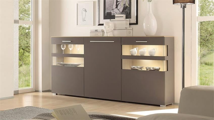 Sideboard XERO Kommode Highboard grau Stone Oak Eiche