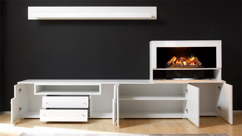 wohnwand 3 camino anbauwand wei hochglanz mit kamin tv. Black Bedroom Furniture Sets. Home Design Ideas