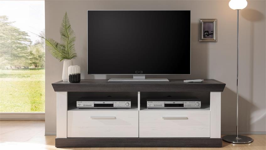 Lowboard TIENA TV-Board in Pinie weiß und Wenge Haptik 134