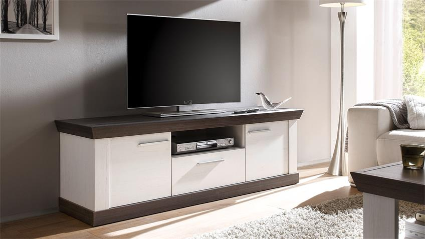 Lowboard TIENA TV-Board in Pinie weiß und Wenge Haptik 156