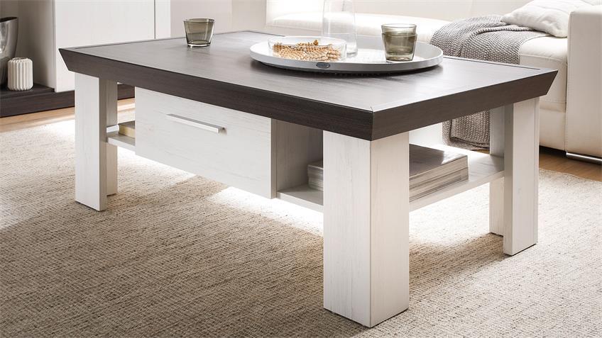 couchtisch tiena beistelltisch pinie wei und wenge haptik. Black Bedroom Furniture Sets. Home Design Ideas