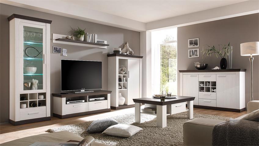 Wohnwand 3 TIENA in Pinie weiß und Wenge Haptik inkl. LED
