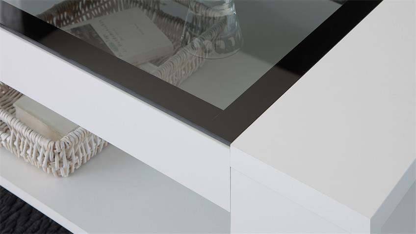 Couchtisch FLAT LIGHT ONE Beistelltisch in weiß mit Grauglas 118x73 cm