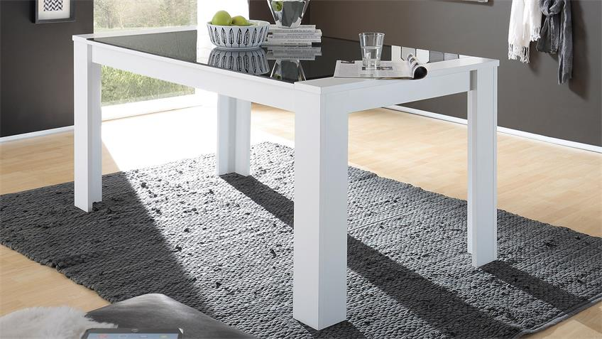 Esstisch FLAT Esszimmertisch in weiß mit Grauglas 160x90 cm