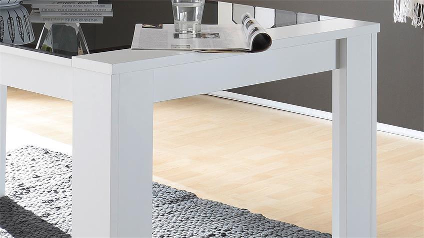 Esstisch FLAT LIGHT ONE Esszimmertisch in weiß mit Grauglas 160x90 cm