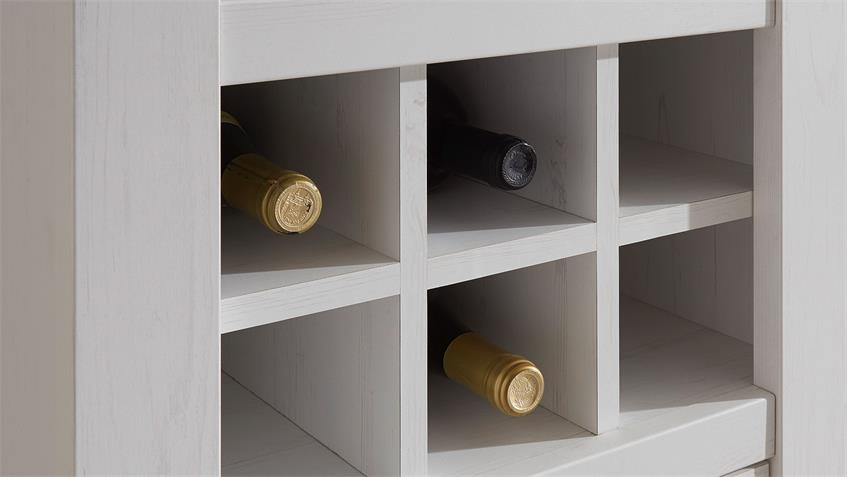 Regal WESTERLAND Pinie weiß m Flascheneinteilung B 147 cm