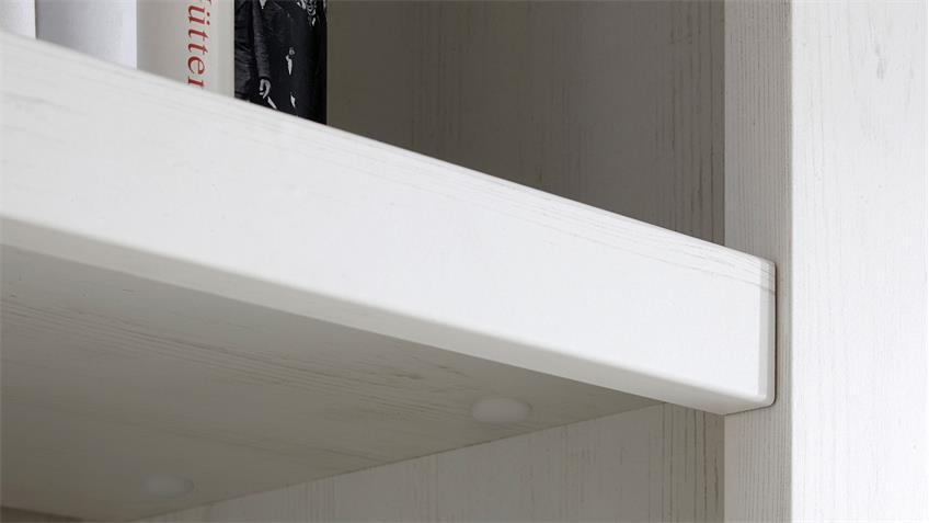Buffet WESTERLAND Vitrinenschrank in Pinie weiß B 194 cm