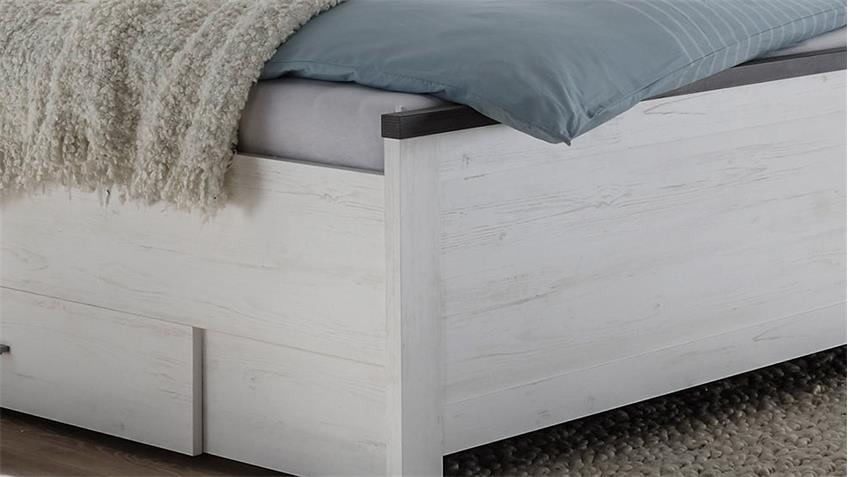 Bett TIENA in Pinie weiß Abs. Wenge Haptik 180x200 cm