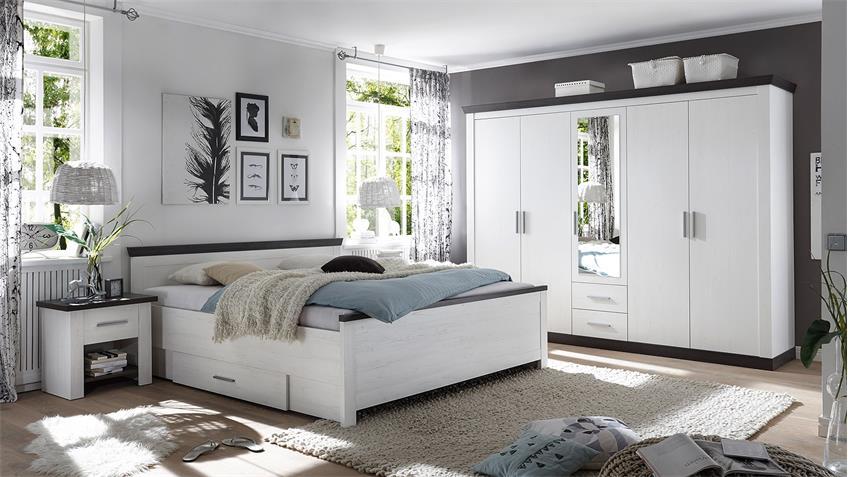 Schlafzimmer TIENA 4-Teilig Pinie weiß Abs. Wenge Haptik
