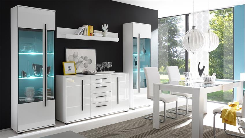 wohnkombi cantara anbauwand in wei hochglanz. Black Bedroom Furniture Sets. Home Design Ideas