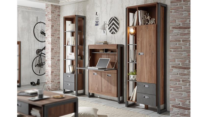 wohnwand home office detroit stirling oak und matera anthrazit. Black Bedroom Furniture Sets. Home Design Ideas