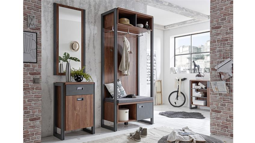 garderobe detroit flurm bel in stirling oak und matera anthrazit. Black Bedroom Furniture Sets. Home Design Ideas