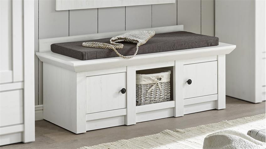 sitzbank westerland schuhbank in pinie wei. Black Bedroom Furniture Sets. Home Design Ideas